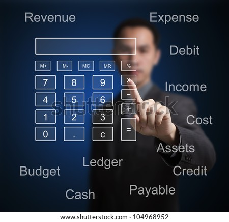 business man pointing at calculator and accounting concept on computer touchscreen - stock photo