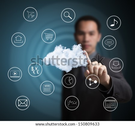 business man pointing at  cloud computing network