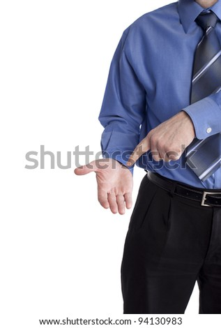 business man pointing at empty hand asking to get paid