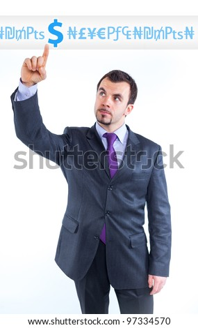 business man pointing at idea change to money graph