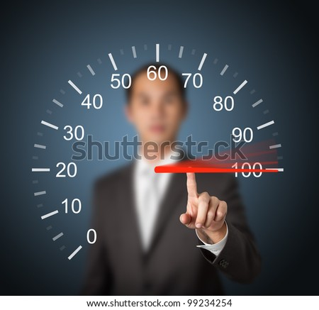business man pointing at 100 percent speed