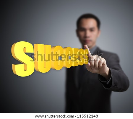 business man pointing at  success