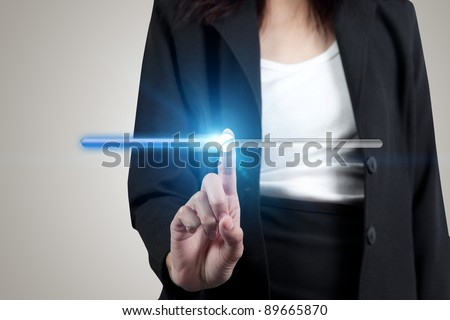business man pointing at volume bar button on touch screen