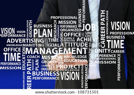 Business man pointing management concept chart