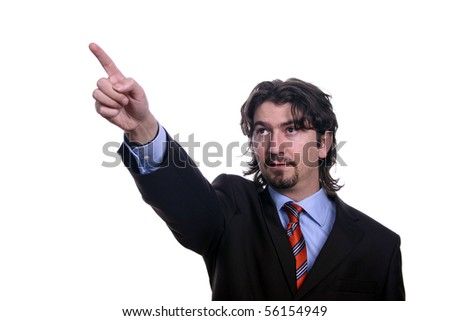business man pointing on a white background