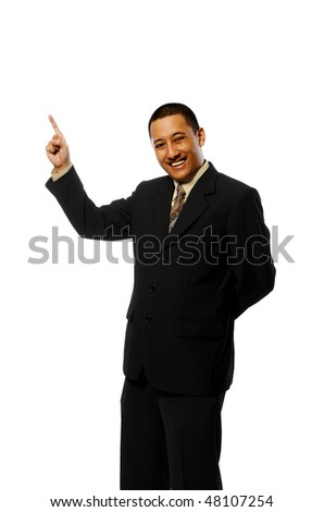 Business man pointing something isolated on white background