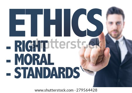 Business man pointing the text: Ethics #279564428