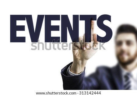Business man pointing the text: Events