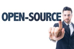 Business man pointing the text: Open-Source