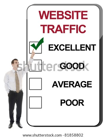 Business man pointing Website Traffic
