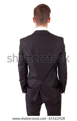 Business man posing backwards, isolated over white