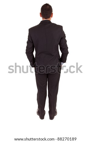 Business man posing backwards, isolated over white