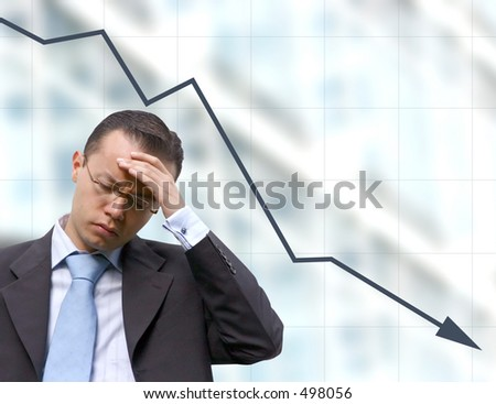 business man preocupied over a graph background