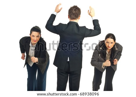 Business man preparing to give start to two business women competition  isolated on white background