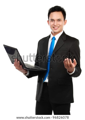 Business man presenting copy space over a white background