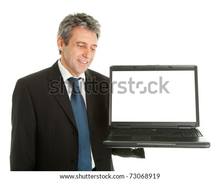 Business man presenting laptopn