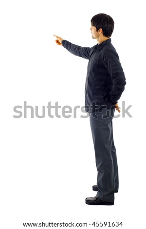 Business man presenting over a white background