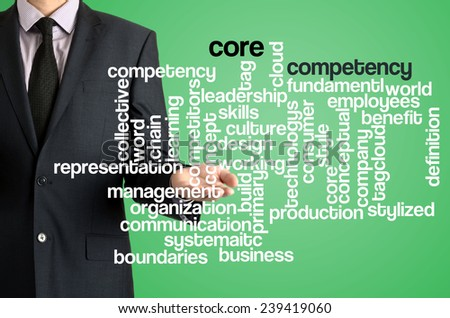 Business man presenting wordcloud related to core competency on virtual screen