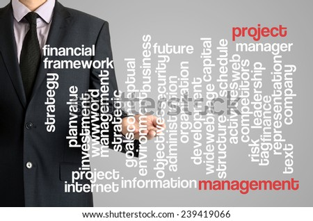 Business man presenting wordcloud related to project management on virtual screen