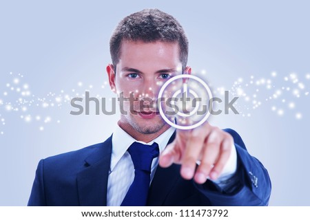 business man pressing ON / OFF button