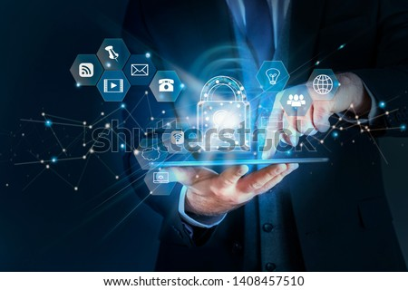 Business man protecting data personal information on tablet, Data protection privacy concept, SSL Certificate, Cyber security network,Padlock icon and internet technology networking connection #1408457510