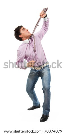 Business man pull himself by tie man wearing jeans, shirt and tie, isolated on white