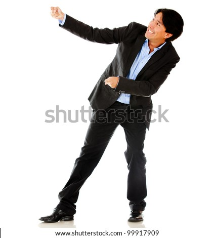 Business man pulling a rope - isolated over a white background