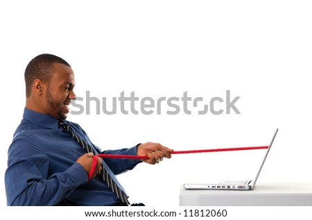 business man pulling a rope through his laptop