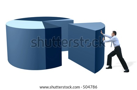 business man pushing a slice of a pie chart