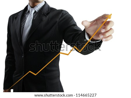 Business man pushing graph
