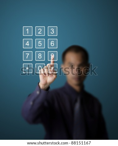 business man pushing number on touch screen mobile phone