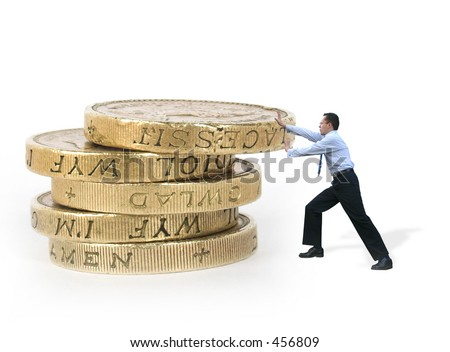 business man pushing some coins showing strength and power