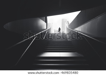 stock photo business man raising stairs to reach the city 469835480 - Каталог - 3d фотообои