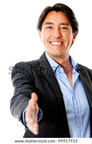 Business man ready to handshake - isolated over a white background