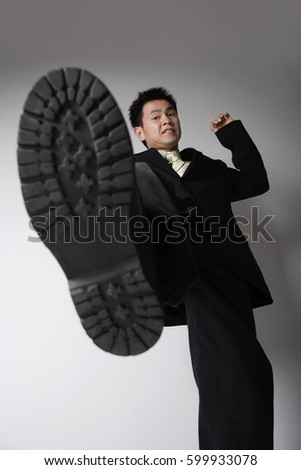 business man ready to stomp