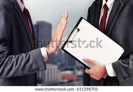 business man reject document