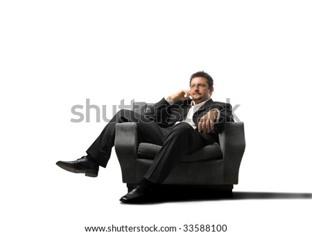 business man relaxing on armchair