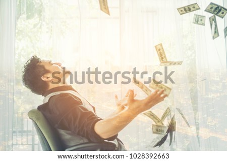 Business man, rich, millionaire, billionaire, with many banknote dollars money Stock photo ©
