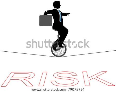 Business man rides a unicycle on a tightrope over financial risk #79075984