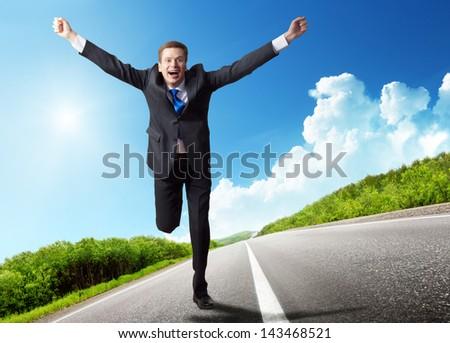 business man run on the road