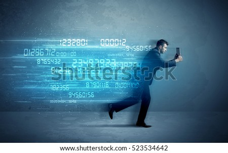 Business man running with media device and high tech wireless data concept on background #523534642
