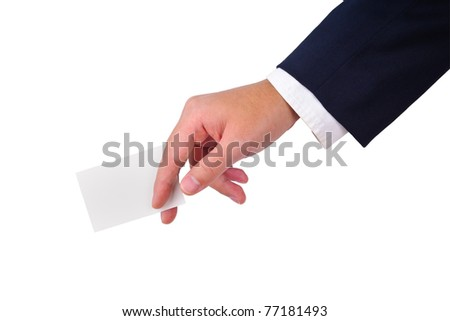 Business man's hand and a card isolated on white
