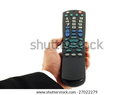 Business man's hand holding a remote control device isolated on white