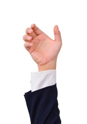 Business man's hand to hold card, mobile phone, tablet PC or other palm gadget, isolated on white