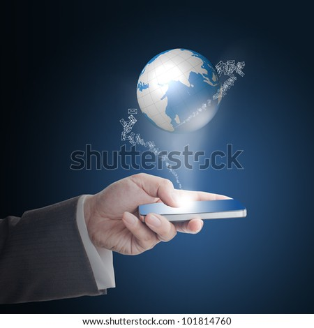 Business man's hand touching on smart phone with glowing digital wire globe with incoming mail icons