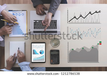 Business Man Sales Increase Revenue Shares and Customer Marketing Sales Dashboard Graphics Concept account and analysis