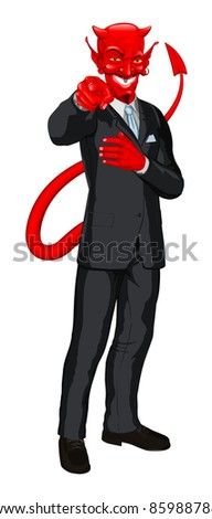 Business man satan  in business suit pointing his finger at you