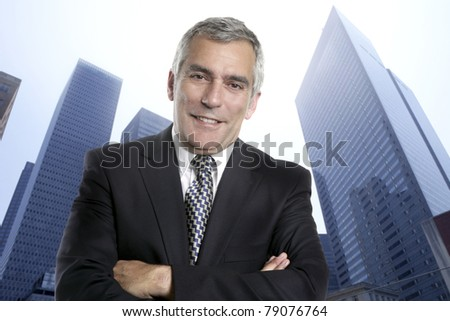 Business man senior urban city modern office buildings downtown suit tie [Photo Illustration]
