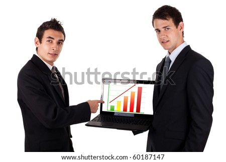 business man show on laptop with chart, isolated on white background