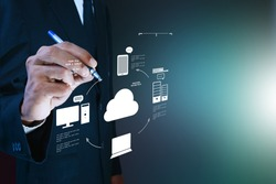 Business man showing concept of cloud computing.